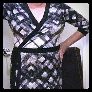 Style & Co. Wrap Dress, Black & White Print, XL